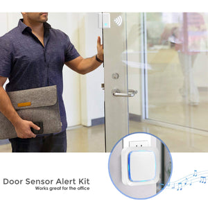 Coolqiya Door Sensor White, 3 Receivers and 2 Door Sensors