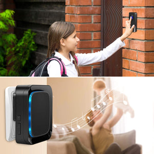 Wireless Doorbell Kit, 2 Transmitters and 2 Plug-in Receivers Black | Coolqiya