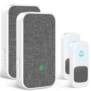 Wireless Doorbell, 2 Transmitters and 2 Plug-in Receivers No Battery Required for Receiver 58 Ringtones | Coolqiya