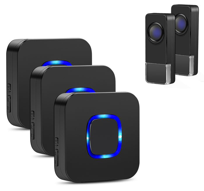 Doorbells Wireless Remote 2 door bell Buttons and 3 Receivers | Coolqiya