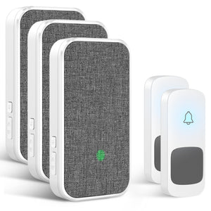 Wireless Doorbell, 2 Transmitters and 3 Plug-in Receivers No Battery Required for Receiver 58 Ringtones | Coolqiya