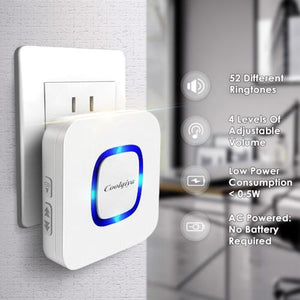 Coolqiya Wireless Doorbell 1 Bell 2 Receivers plug in