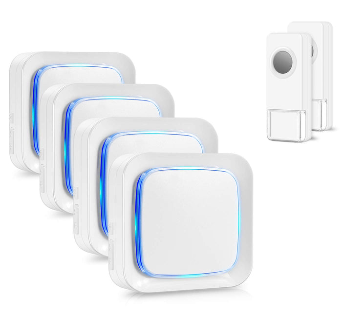 Wireless Doorbell 2 Waterproof Transmitters and 4 Plug-in Receivers | Coolqiya