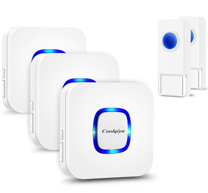 Remote 2 Bell Buttons & 3 Chimes White | Wireless Doorbells | Coolqiya