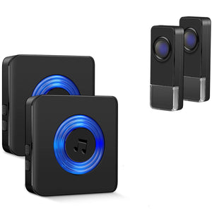 Doorbells Wireless Remote 2 door bell Buttons and 2 Receivers | Coolqiya