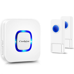 Remote 2 Bell Buttons & 1 Chimes White | Wireless Doorbells | Coolqiya