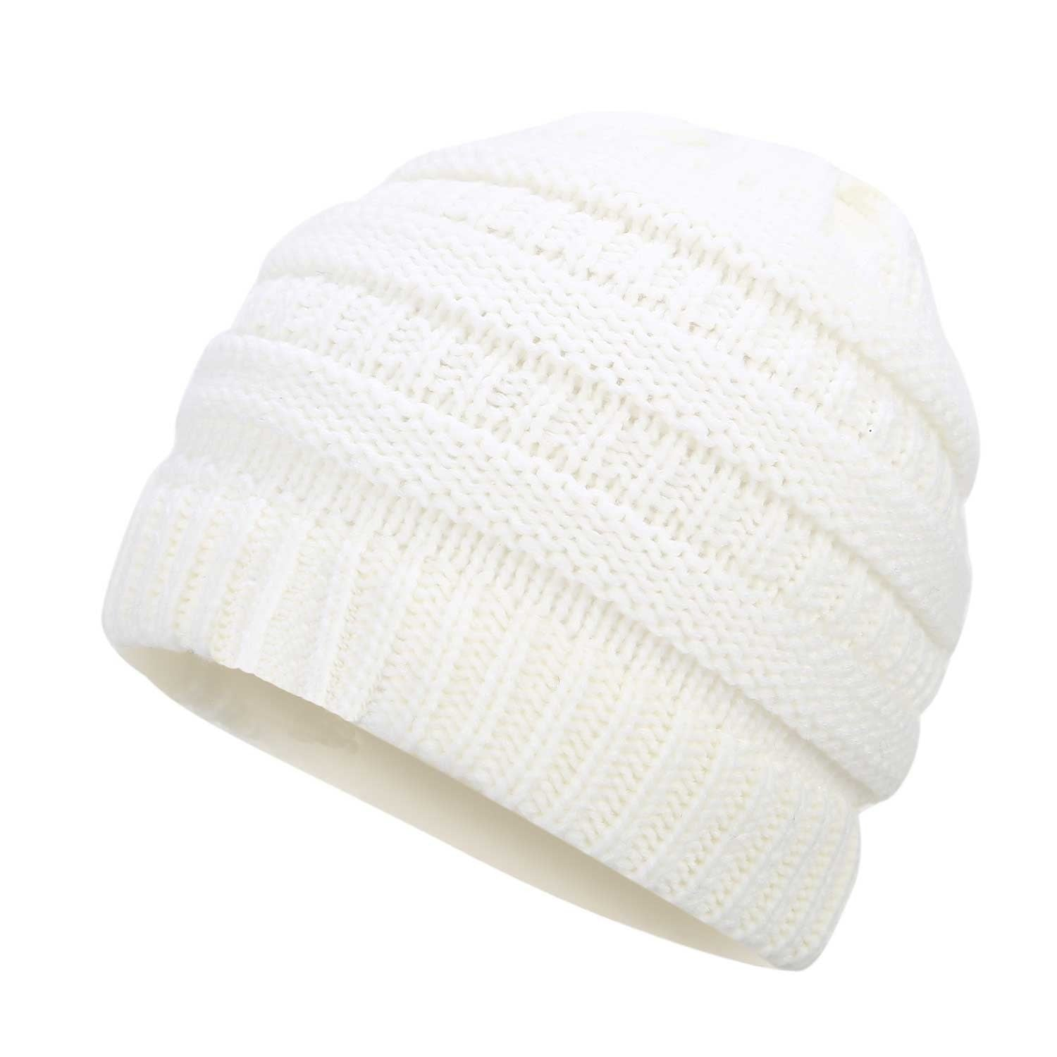 Ponytail Beanie Hat Winter Skullies Beanies Warm Caps Female Knitted Stylish  Hats For Ladies Fashion 6487898b822