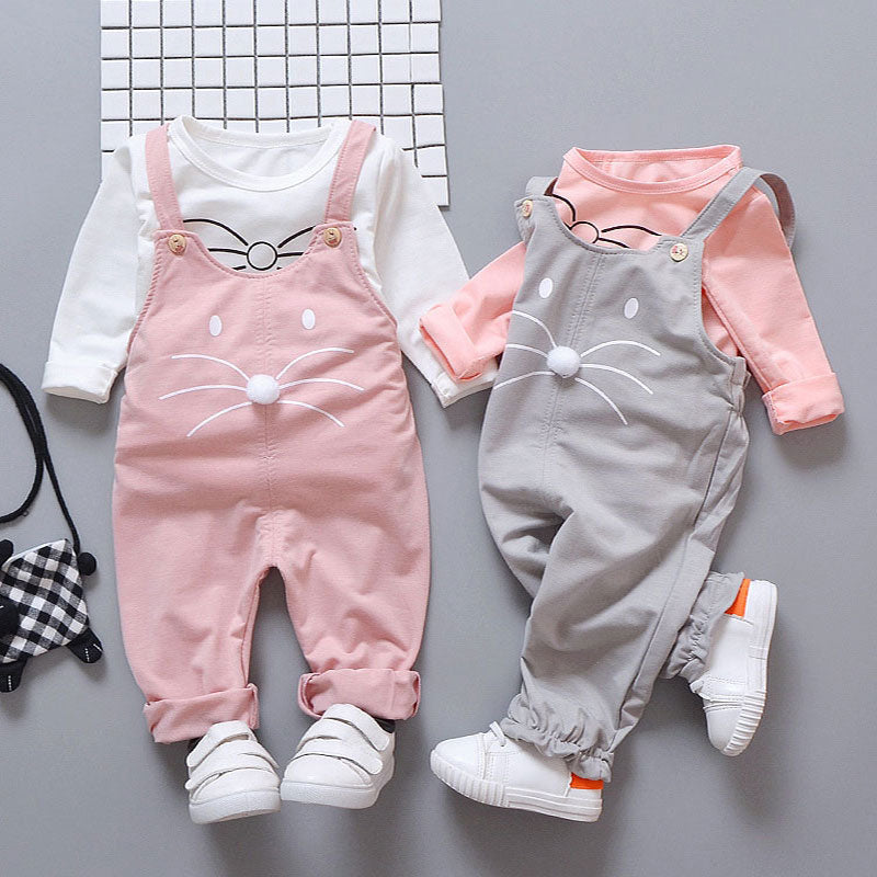 Suspender Pants and Shirt for Girls