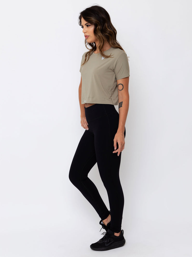 V-FLUITY Cropped T-Shirt Cupuacu Green - VOTIG