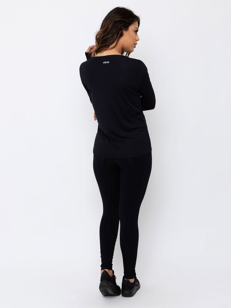 V-LINK Long Sleeve T-Shirt Anti Viral Fabric Black - VOTIG