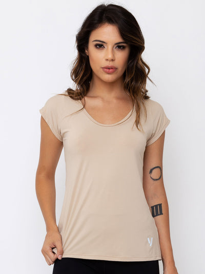 V-FLUITY Power UP T-Shirt Beige - VOTIG