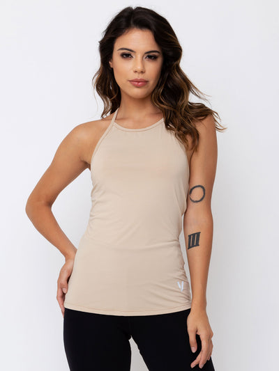 V-FLUITY Open T-Shirt Tank Top Beige - VOTIG