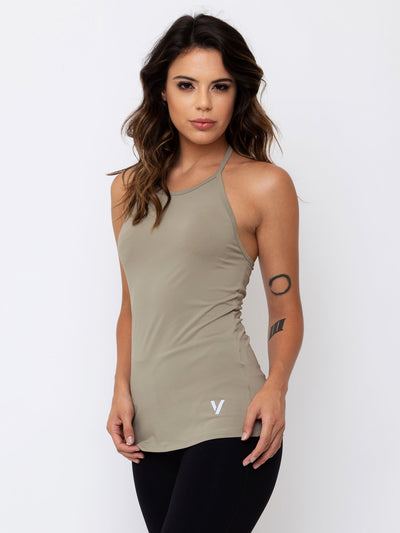 V-FLUITY Open T-Shirt Tank Top Cupuacu Green - VOTIG