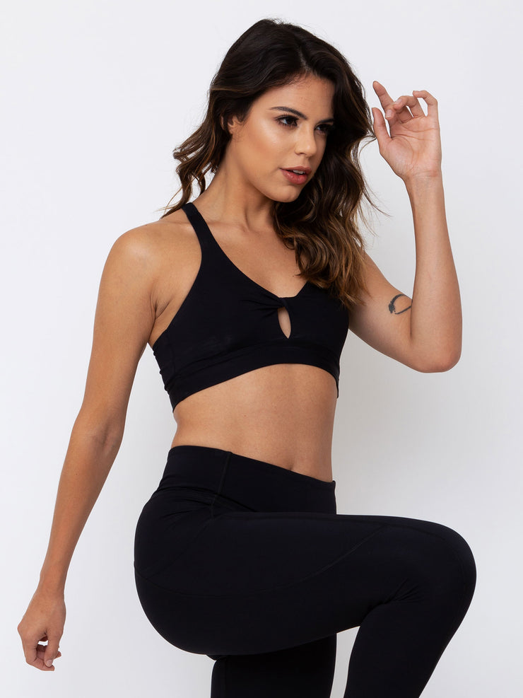 V-UP Twisted Padded Crop Top Anti Viral Fabric Black - VOTIG