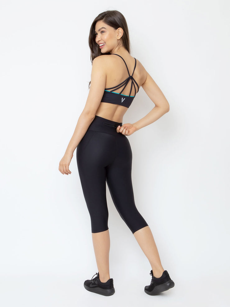 V-Emana ECO Performance Capri Cropped Leggings Black - VOTIG