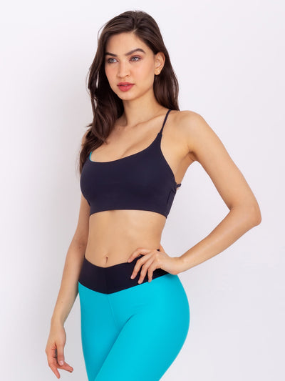 V-Attack Eco Crop Top Reversible Miami Blue - Black - VÖTIG® Official Store | Premium Fitness & Workout Wear