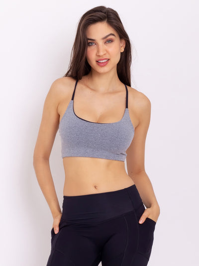 V-Light Eco Crop Top Reversible MZ Grey - Black - VÖTIG® Official Store | Premium Fitness & Workout Wear