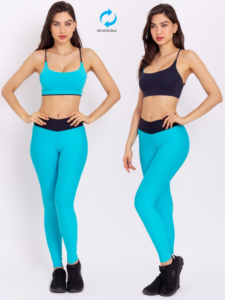V-Attack Eco Crop Top Reversible Miami Blue - Black - VOTIG