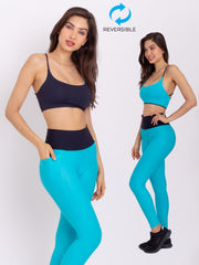 V-Attack Performance Eco Leggings & Reversible Top Set Miami Blue - VOTIG