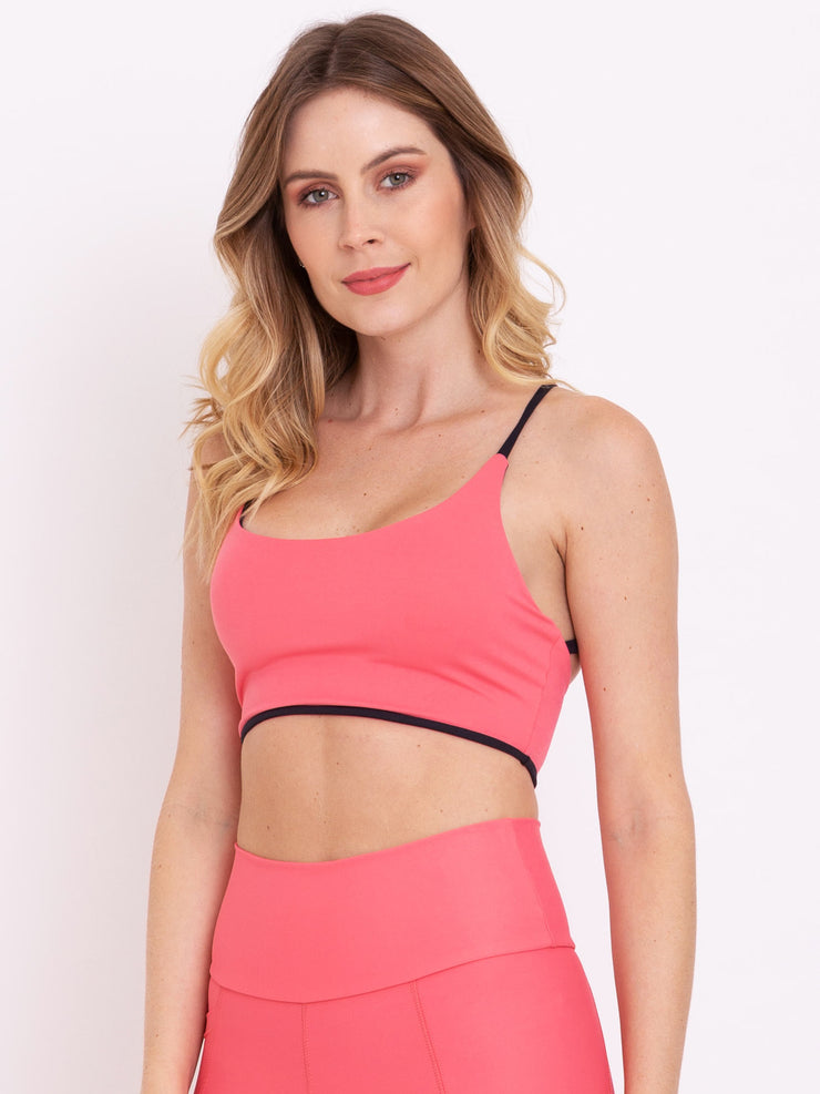 V-UP Eco Crop Top Reversible Rose Carmine - Black - VOTIG