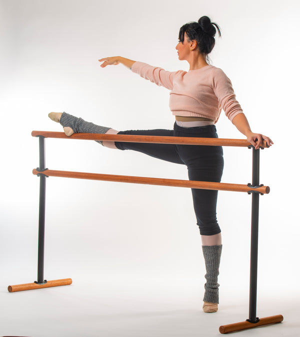 Portable Double Ballet Barre -Luxurious Red Hardwood - H= 106-129  L=130 cm