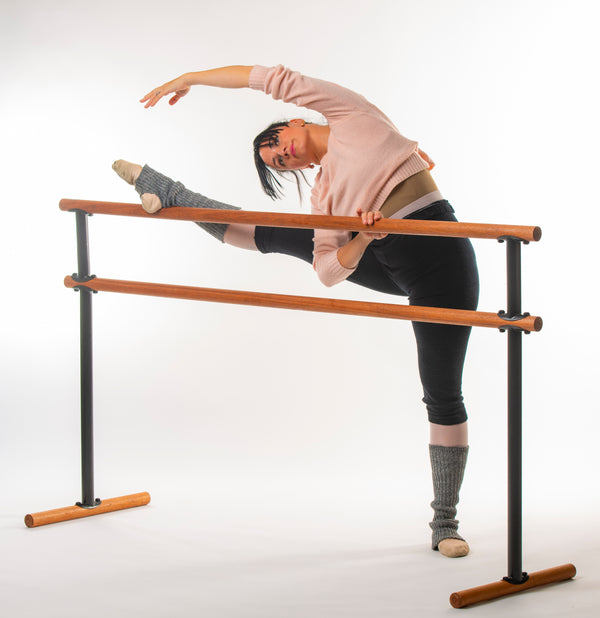 Portable Double Ballet Barre - Luxurious Red Hardwood - H= 106-129  L=190 cm