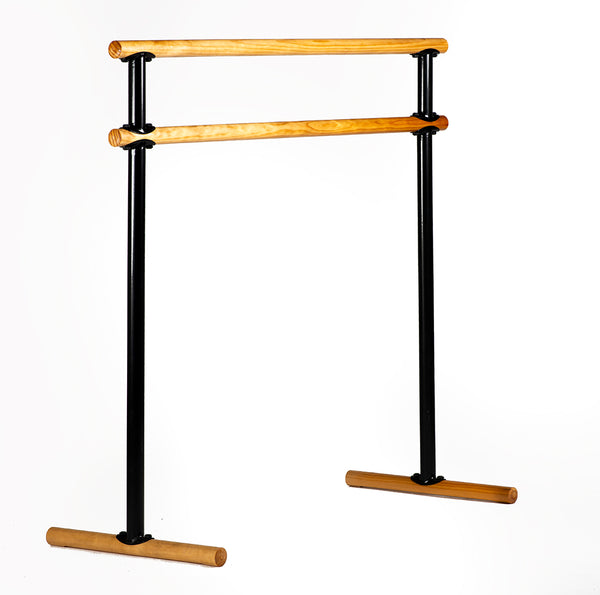 Portable Double Ballet Barre - Economic  Pine - H= 106-129  L=130 cm