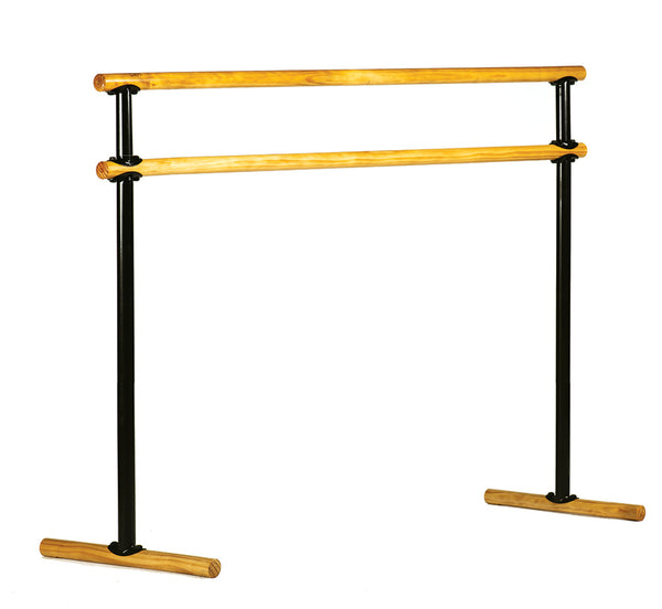 Portable Double Ballet Barre - Economic  Pine - H= 106-129  L=190 cm