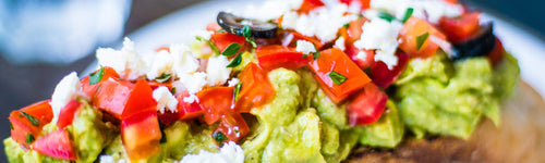 Roasted Tomatoes on Millet with Avocado and Feta Cheese