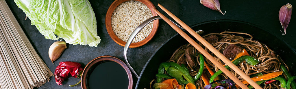 Asian Sticky Pork with Steamed Greens and Buckwheat Soba Noodles