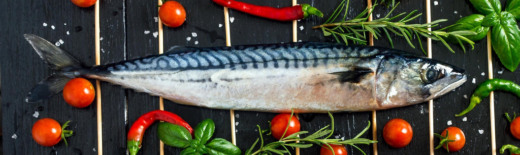 Grilled Mackerel with Steamed Sweet Potato and Watercress