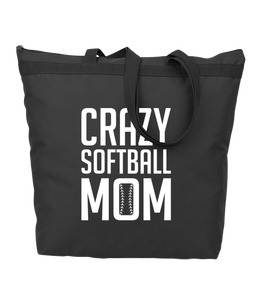 Crazy Softball Mom Zipper Bag (more colors available)
