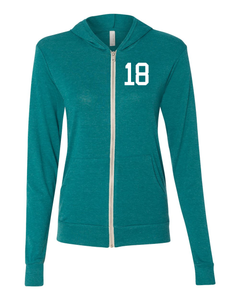 Unisex Lightweight Zip up Triblend Hoodie