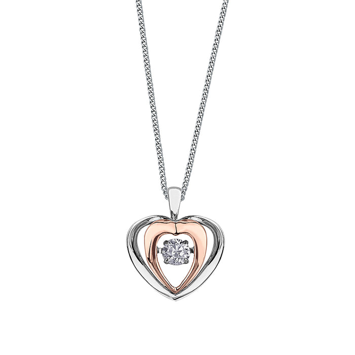.15CT Pulse Two Tone Heart Necklace