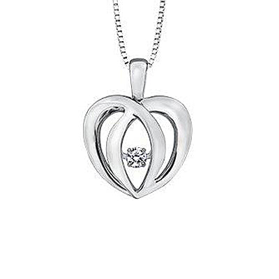 .05CT Pulse Double Heart Necklace