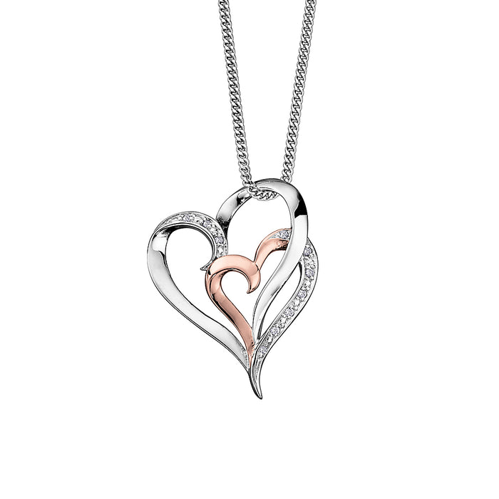 Two Tone Double Heart Necklace