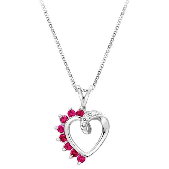 .025CT Ruby Heart Necklace