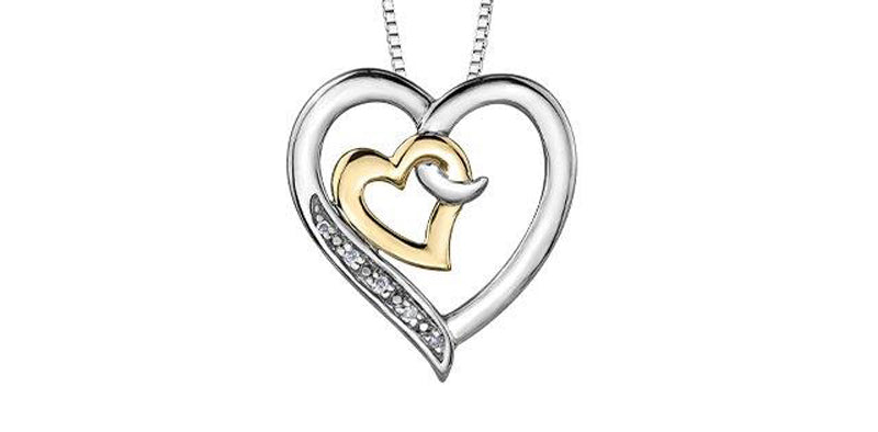 .02CT Diamond Double Heart Necklace: Two Tone