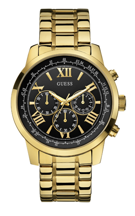 Guess Men's Chronograph Watch: Black/Gold