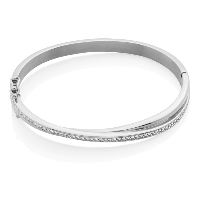 Steelx Stainless Steel CZ Interlock Bangle