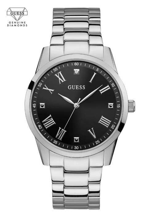 Guess Men's Diamond Analog Watch: Silver/Black