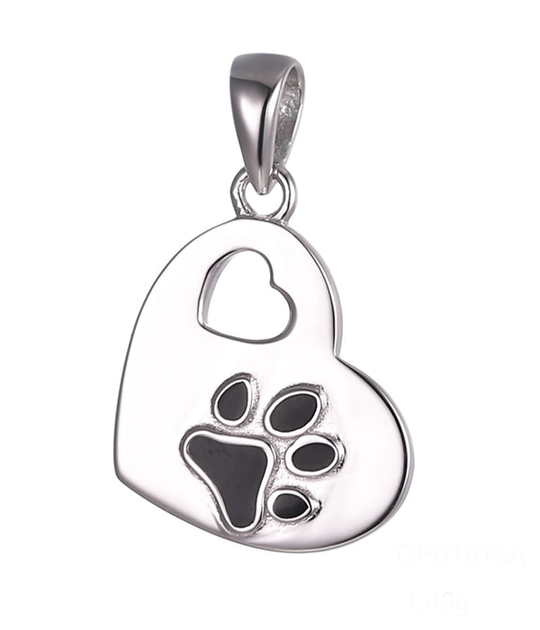 Paw prints on my Heart Pendant