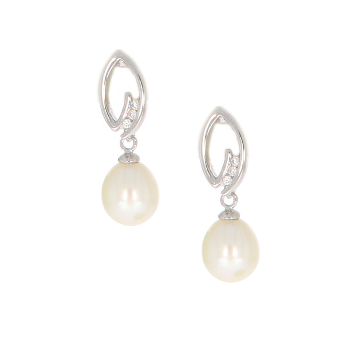 Pearl Drop Earrings with CZ