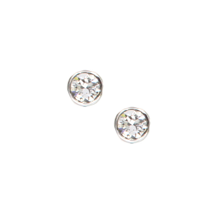 Bezel Set Crystal Earrings: Clear