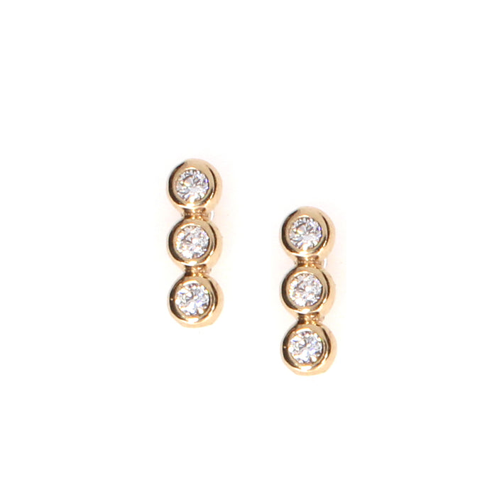 Three Stone Earrings: Rose Gold