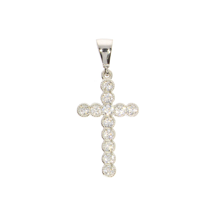 Beaded Cross Pendant: White Gold