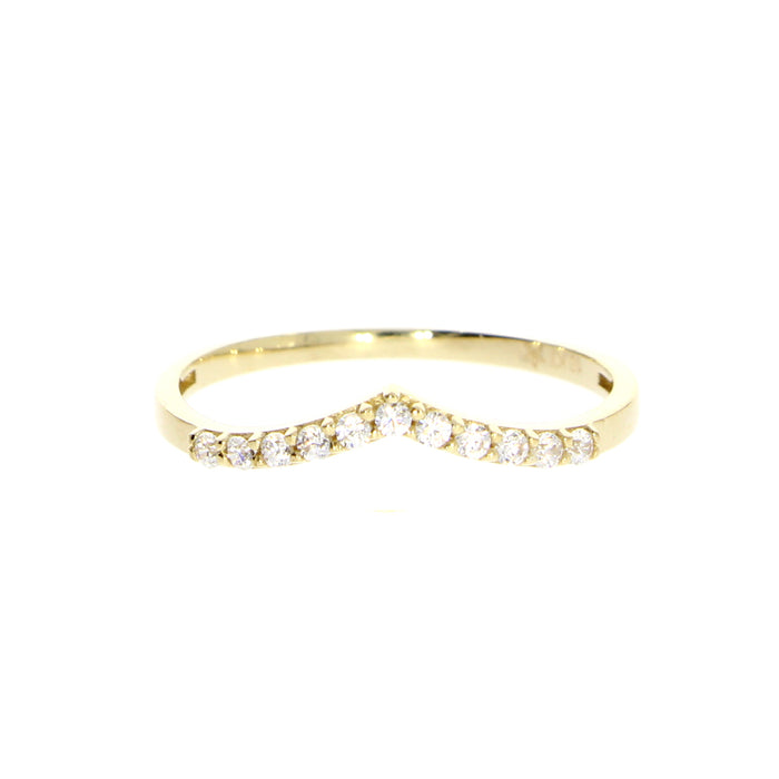 V Ring: Yellow Gold with CZ