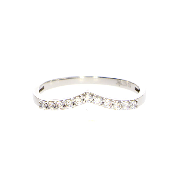 V Ring: White Gold with CZ