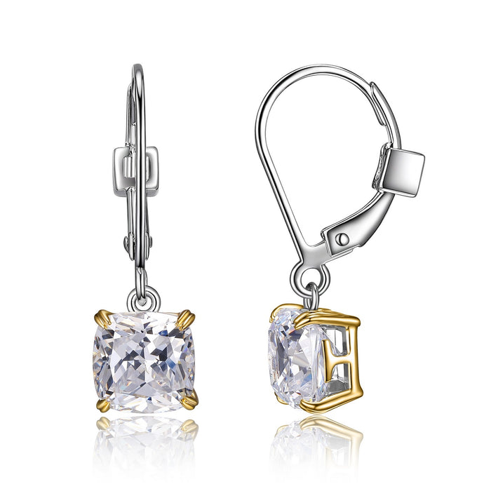 Elle Two Tone Cushion Cut CZ Earrings