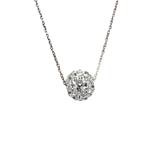 10mm Crystal Ball Necklace: Clear